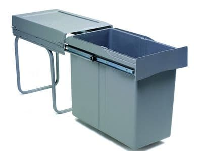 Pull-out waste bin, 30 ltr, full extension runners, grey